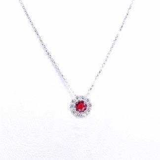 Collana di diamanti con rubino