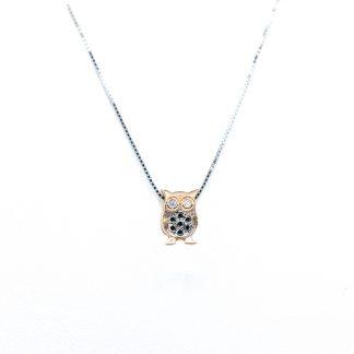 Collana in oro e diamanti civetta