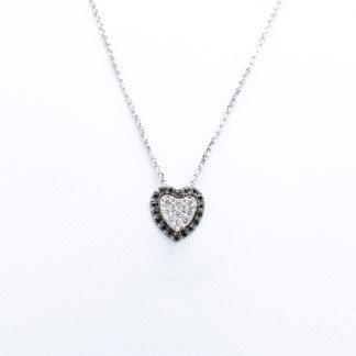 Collana oro diamanti cuore nero bianco