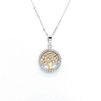 Collana oro diamanti albero della vita