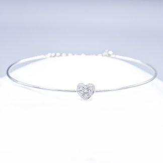 Bracciale in oro e diamanti forma cuore