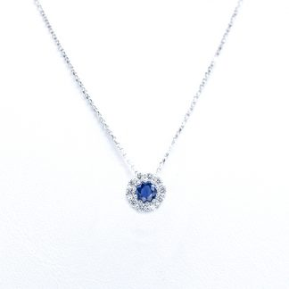Collana di diamanti con zaffiro blu