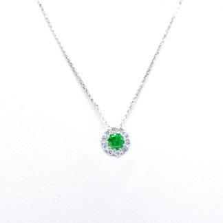 Collana di diamanti con smeraldo