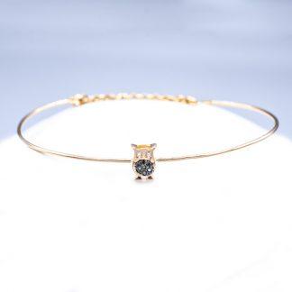 Bracciale in oro e diamanti forma gufo