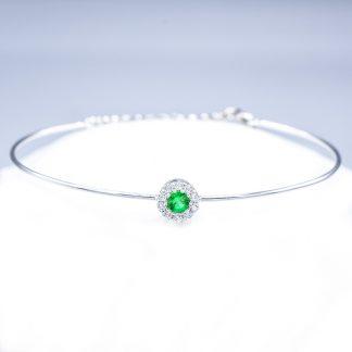 Bracciale con diamanti e smeraldo