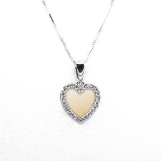 Collana in oro e diamanti cuore specchiato